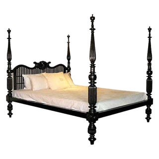 20th C. British Colonial Solid Ebony Shell Bed