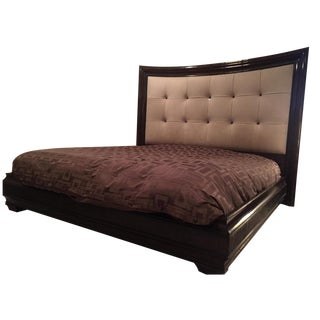 Modern Tufted King Bed in Beige Suede