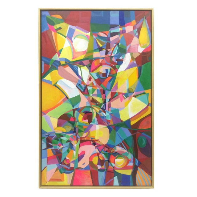 Cheerful Cubist Inspired Abstract Painting by Nich - Image 1 of 4