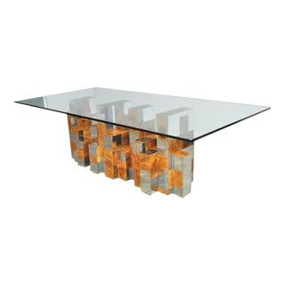 "Paul Evans ""Cityscape Series"" Burl Wood and Chrome Dining Table"