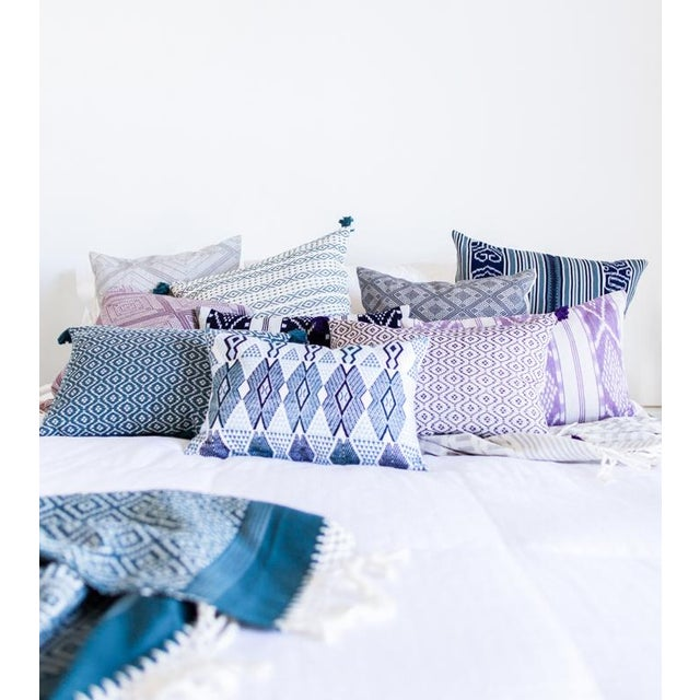 "Handwoven Teal & Blue Guatemalan Pillow - 21""x12"" - Image 7 of 8"