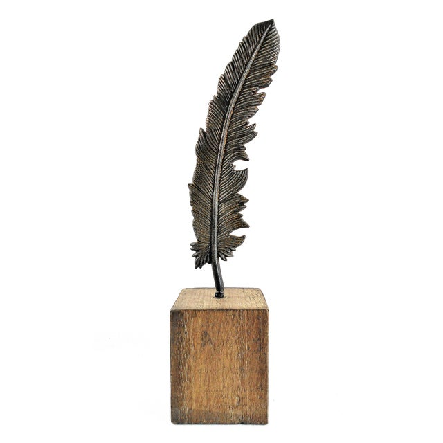 Metal Feather on Wood Block Pedestal Sculpture - Image 1 of 5