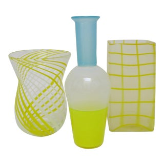 Blown Yellow Glass Vases - Set of 3