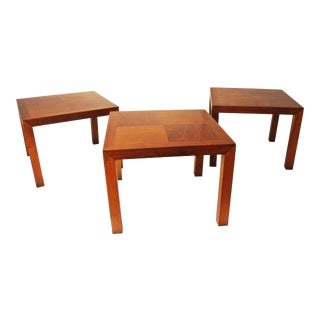 Lane Mid-Century Danish Modern Parsons Side Tables- Set of 3