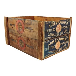 Vintage Arm & Hammer Soda Wood Shipping Crate