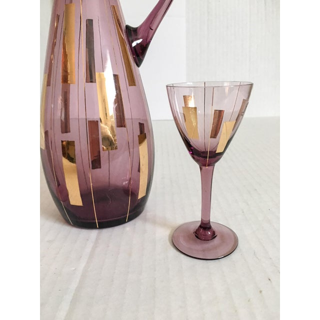 Amethyst & Gold Mid-Century Modern Cordial Set for Two - Image 2 of 7