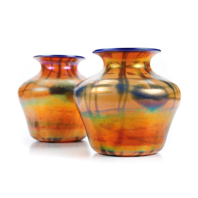 Imperial Art Glass Heart & Vine Decor Vases- A Pair - Image 3 of 9