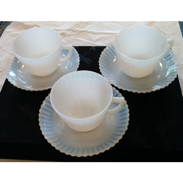 Image of 1920s Petalware Teacups and Saucers - Set of 3
