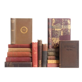 Distressed Poetry In Shades of Rust Books - Set of 16