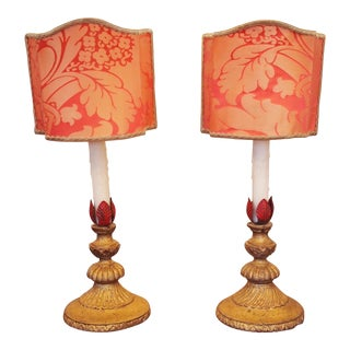 Pair of Giltwood Candlestick Lamps