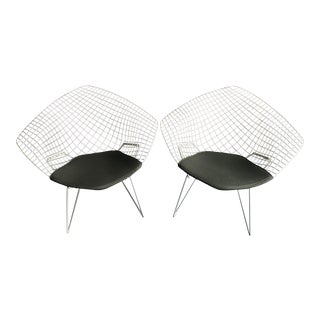 Bertoia for Knoll Diamond Chairs With Seat Cushion - a Pair