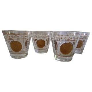 Gold Mayan Calendar Rocks Glasses - Set of 4