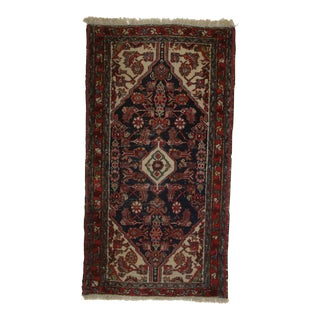 Antique Hand Knotted Wool Persian Hamedan Rug - 2′5″ × 4′6″