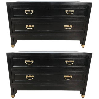 Baker Ebonized Campaign Style Chests or Nightstands - a Pair