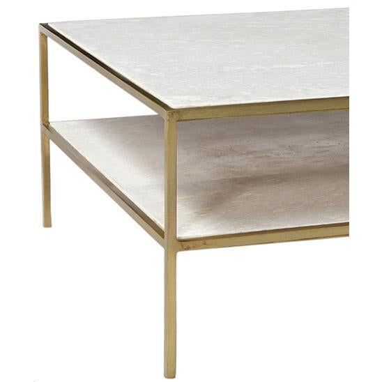 Stellar White Marble Coffee Table: White Marble & Brass Coffee Table