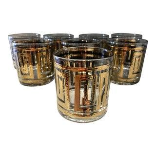 Vintage Greek Key Cocktail Glasses - Set of 8