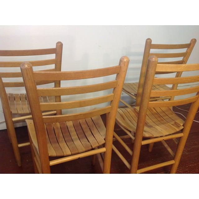 Vintage Sparrow Slat Ladder Back Chairs - Set of 4 - Image 8 of 9