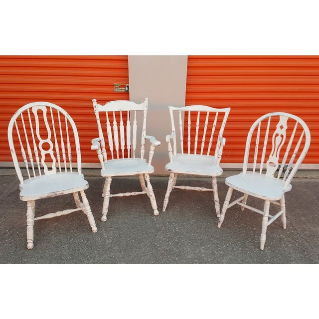 Mis-Matched Dining Chairs: Distressed in White - Image 2 of 4