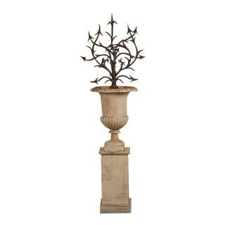 Hand Forged Iron Bush Set in an Iron Urn, France c.1880