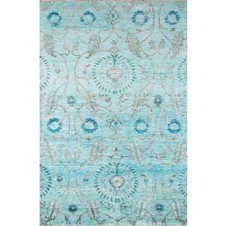 "Hand Knotted Bamboo Silk Aqua Blue Alice Rug- 5'6""x8'6"""