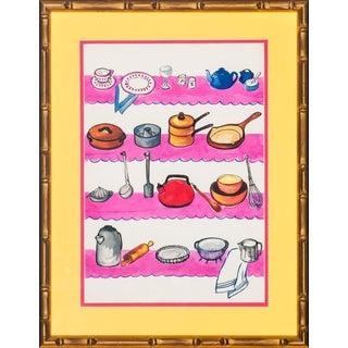 """""""Four-Tier Kitchen Shelves"""" Watercolor"""