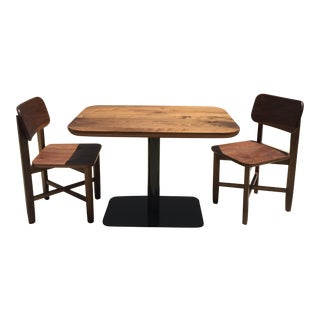 Rich Walnut Cafe Table & 2 Chairs