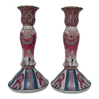 Hand-Painted Chinese Candlesticks - A Pair