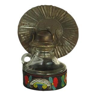 Rustic Folk Art Painted Oil Lamp