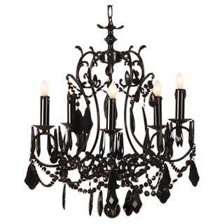 Vintage French Black Five Arm Crystal Chandelier circa 1940