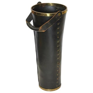 Stylish Tall Italian Leather and Brass Umbrella Stand