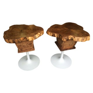 Butternut Wood End Tables with Retro Tulip Base