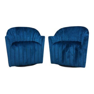 Teal Velvet Swivel Hollywood Regency Club Chairs - a Pair