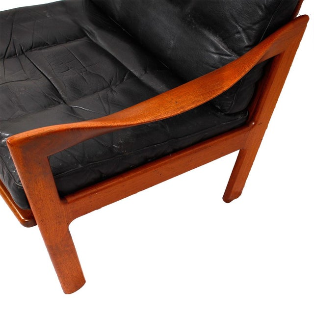 Illum Wikkelso Teak & Leather Lounge Chairs - Pair - Image 5 of 7