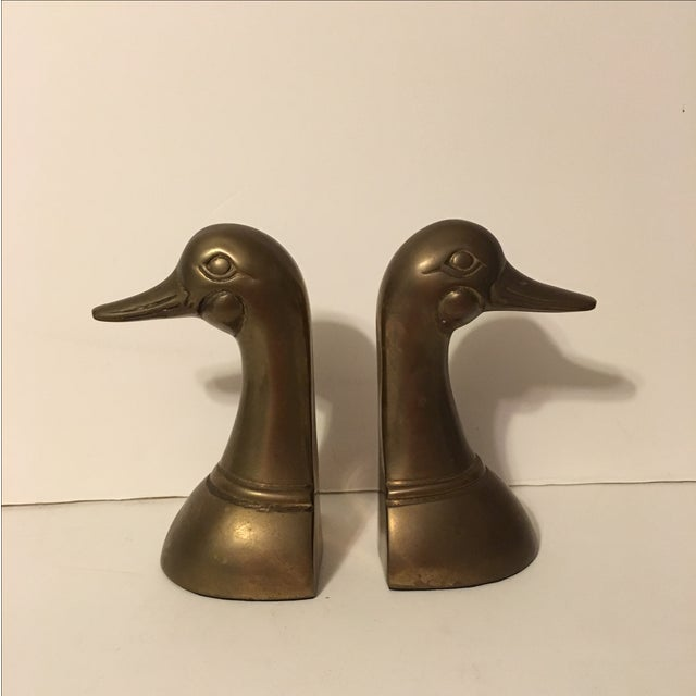 Image of Vintage Brass Mallard Bookends - A Pair