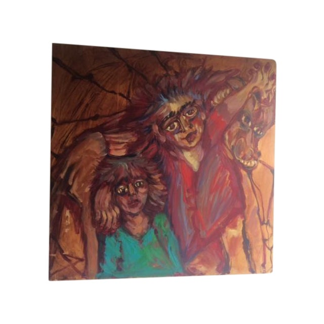 """Image of """"2 Girls & a Horse"""" Expressionist Modern Painting"""
