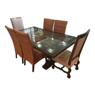 Wood & Wrought Iron Dining Set