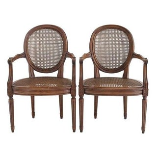 Antique French Round Cane Armchairs