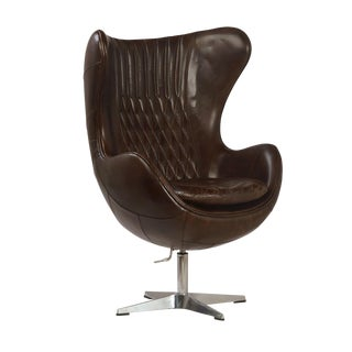 Espresso Leather Quilted Wingback Chair
