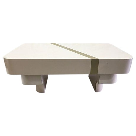 1970s Beige Mica & Gold Stripe Coffee Table - Image 1 of 5