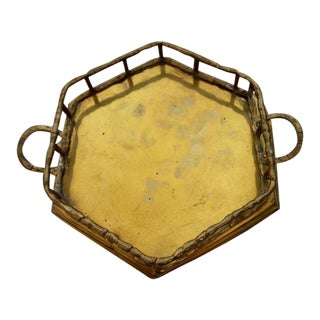 Vintage Brass Bamboo Octagon Tray