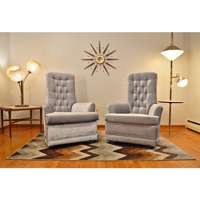 Mid Century Velvet Tufted High-Back Chairs - Pair - Image 2 of 8