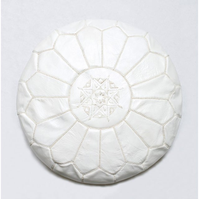Handmade Moroccan White Leather Pouf - Image 3 of 3