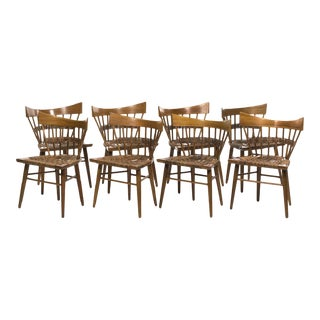 1950s Edmund Spence for Industria Mueblera Mahogany and Seagrass Dining Chairs - Set of 8