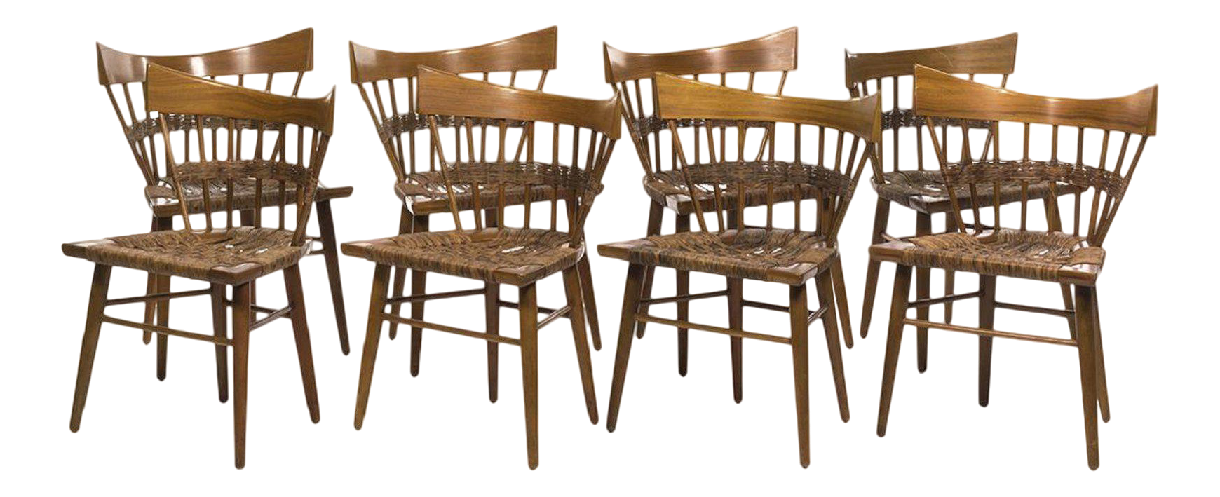 1950s Edmund Spence For Industria Mueblera Mahogany And Seagrass Dining  Chairs   Set Of 8
