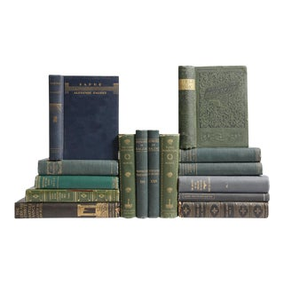 Distressed Blue & Green French Classic Books - Set of 15