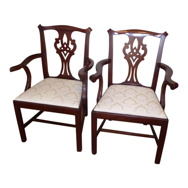 Henkel Harris Dining Room Furniture: Henkel Harris Chippendale Arm Chairs - A Pair