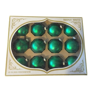 Shiny Brite Green Glass Ornaments - Set of 12