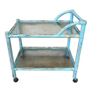 Upcycled Blue Chippy Rattan Bar Cart