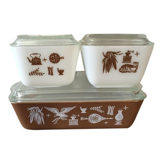 Pyrex Early American Refrigerator Dishes - S/4