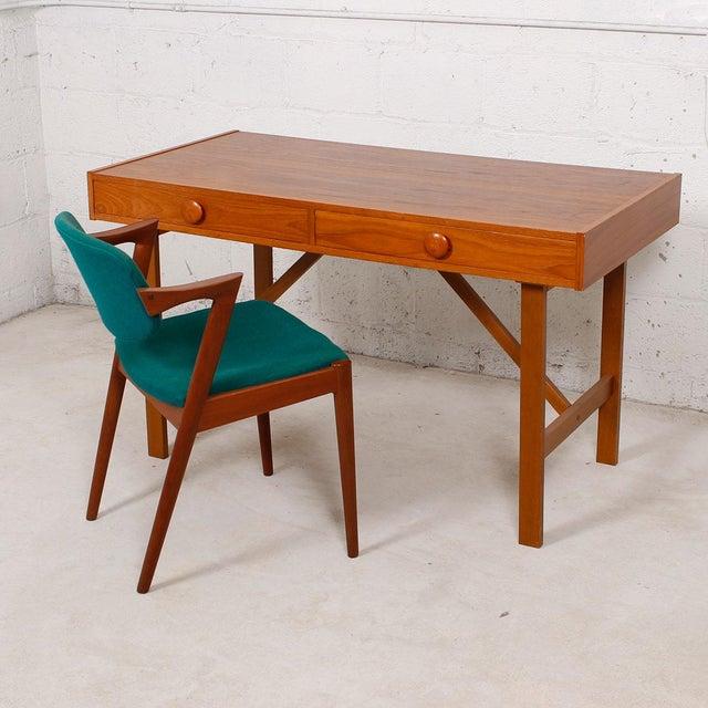 Danish Modern Compact Teak Two Drawer Desk - Image 4 of 6